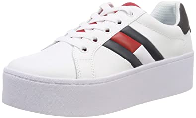 f8bb4b8235dd Tommy Hilfiger Women s Icon Platform Leather Lace Up Trainer White-White-5  Size 5