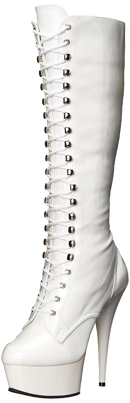 Pleaser Women's DEL2023/W/M Boot B000YQU4N8 6 B(M) US|White Stretch Patent/White