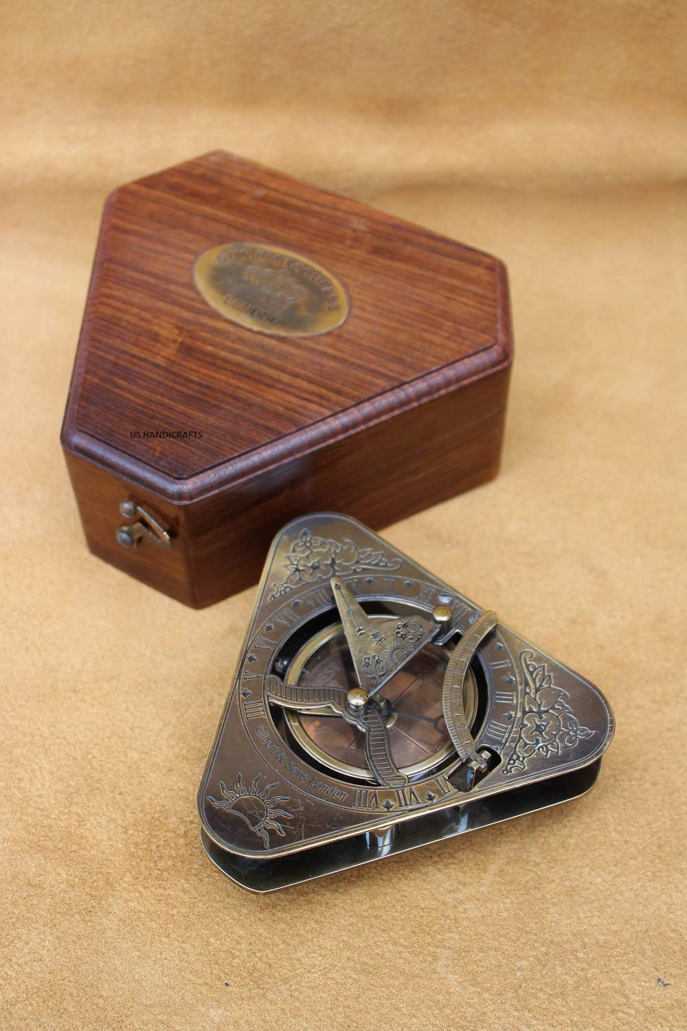 US Handicrafts History Brass Triangle Sundial Compass in Hardwood Box. by US Handicrafts (Image #5)