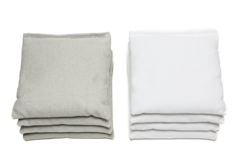 Weather Resistant Cornhole Bags (Set of 8) by SC Cornhole (Grey/White)