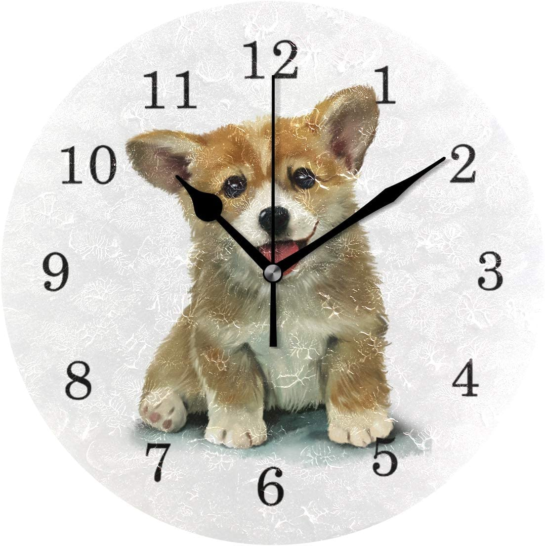 Linomo Cute Animal Dog Puppy Wall Clock Decor, Silent Non Ticking