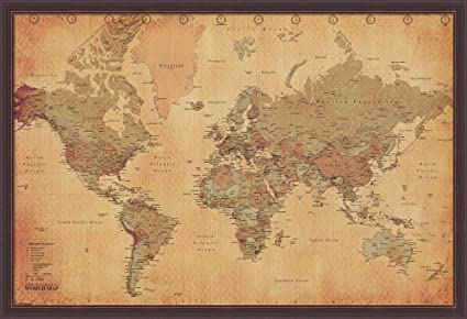 Amazon world map vintage style framed fine art print with brown world map vintage style framed fine art print with brown value line frame and clear styrene gumiabroncs Choice Image
