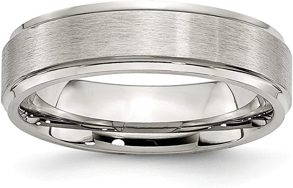 Stainless Steel Grooved Edge 6mm Brushed and Polished Wedding Band