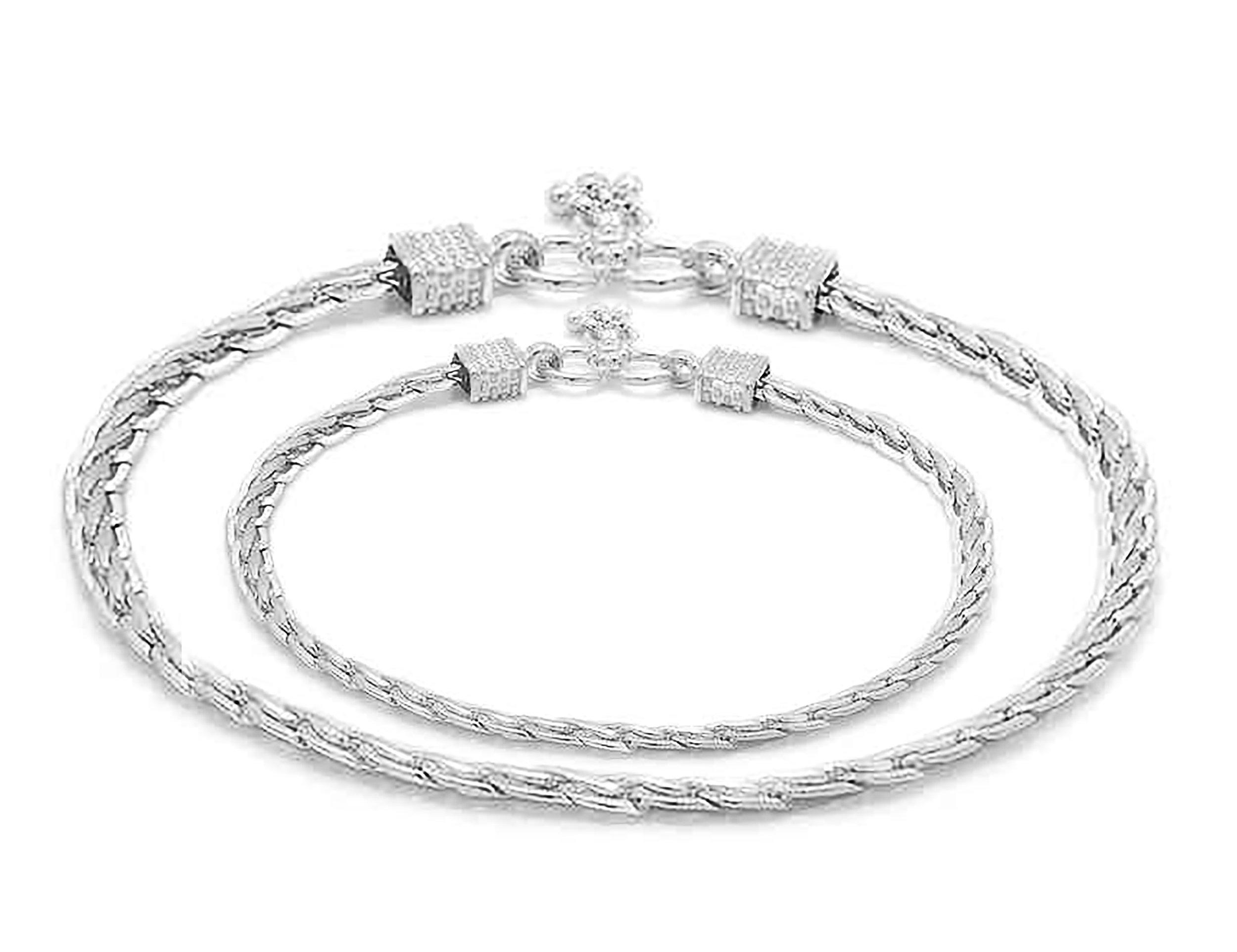 D&D Crafts Sterling Silver Link Anklets For Girls, Women