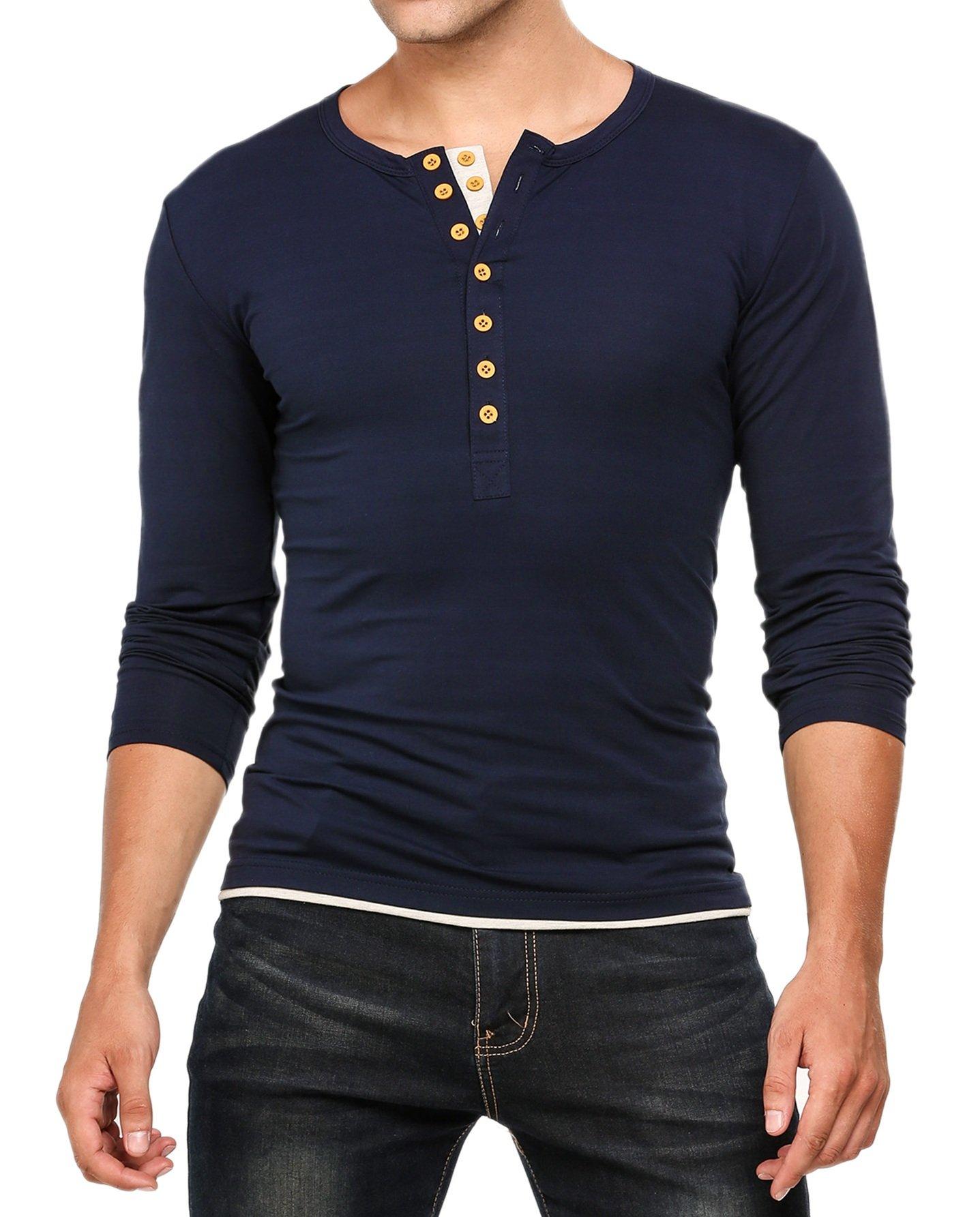 HOTOUCH Mens Henley Jersey Shirt Long Sleeve Navy Blue M