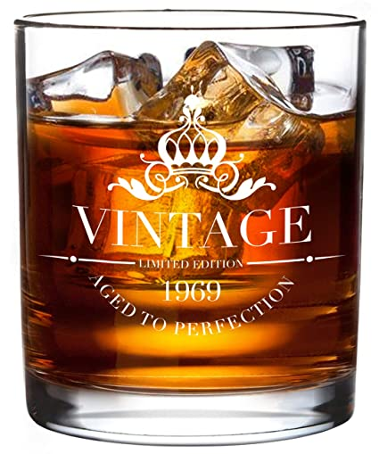 1969 50th Birthday Gifts Whiskey Glass For Men And Women