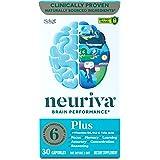 Nootropic Brain Support Supplement - NEURIVA Plus Capsules (30ct bottle) Phosphatidylserine, B6, B12, Folic Acid - Supports F
