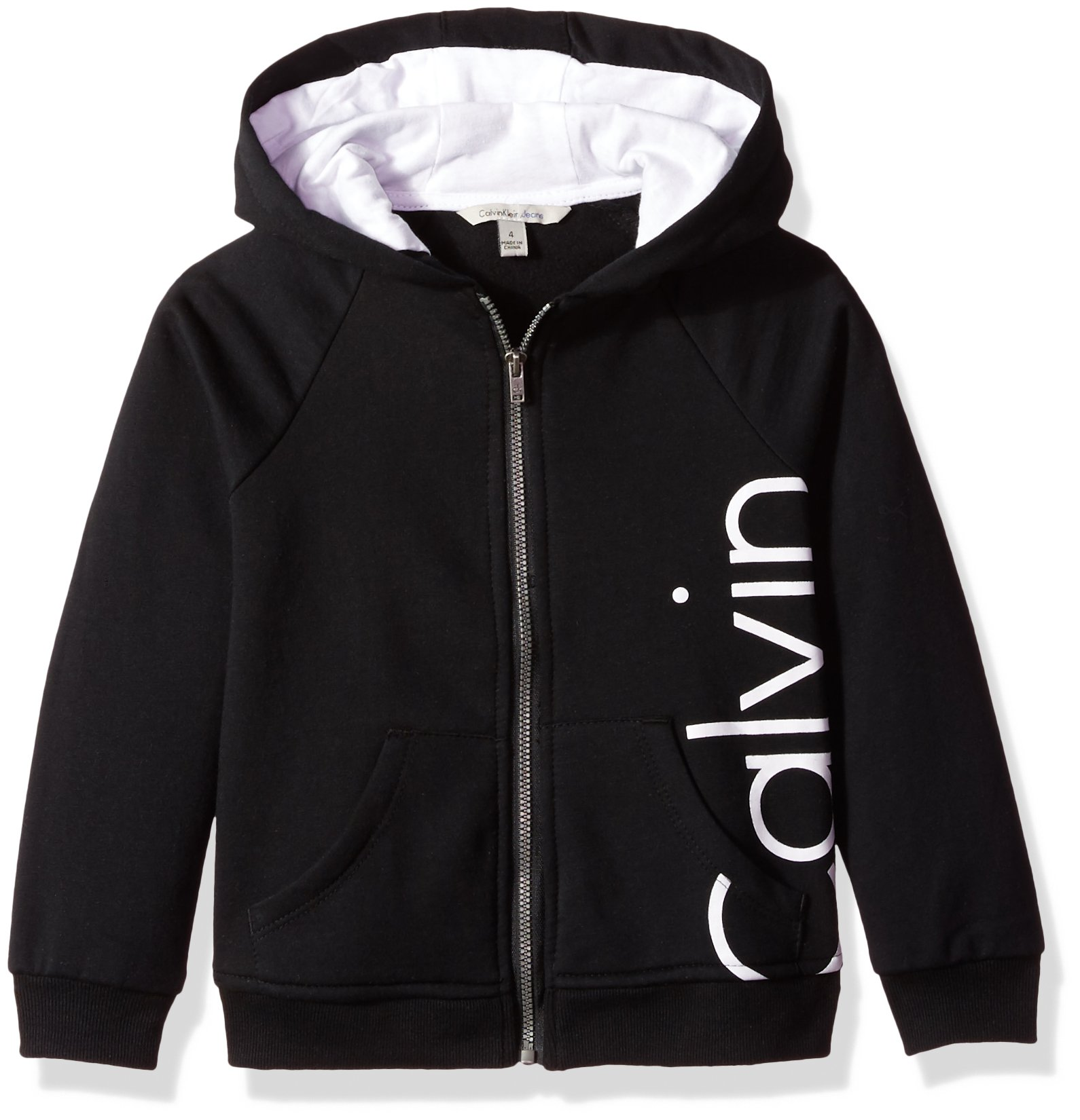 Calvin Klein Big Girls' Logo Zip Front Hoodie, Anthracite, Medium (8/10) by Calvin Klein (Image #1)