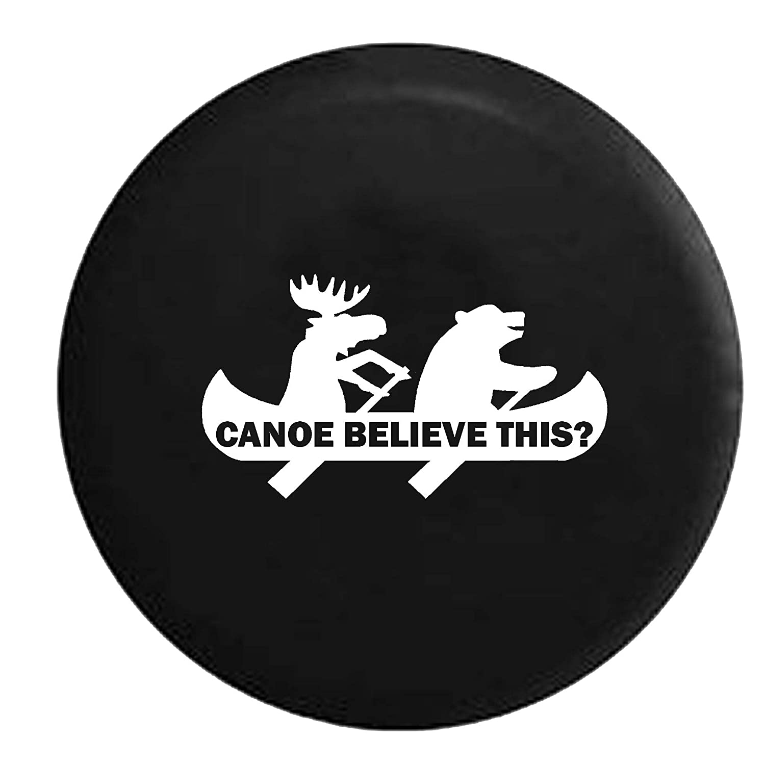 Flag Moose Bear Canoe Outdoors Funny Camping Jeep Spare Tire Cover OEM Vinyl Black 30-31 in