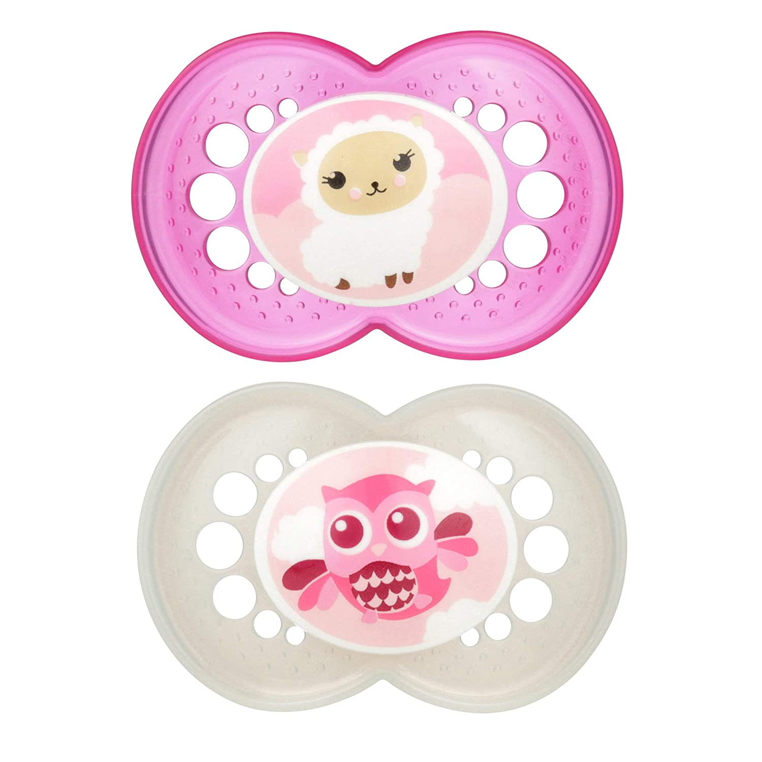 MAM Pacifiers, Baby Pacifier 16+ Months, Best Pacifier for Breastfed Babies, 'Animal' Design Collection, Girl, 2-Count 3614-012-0-1