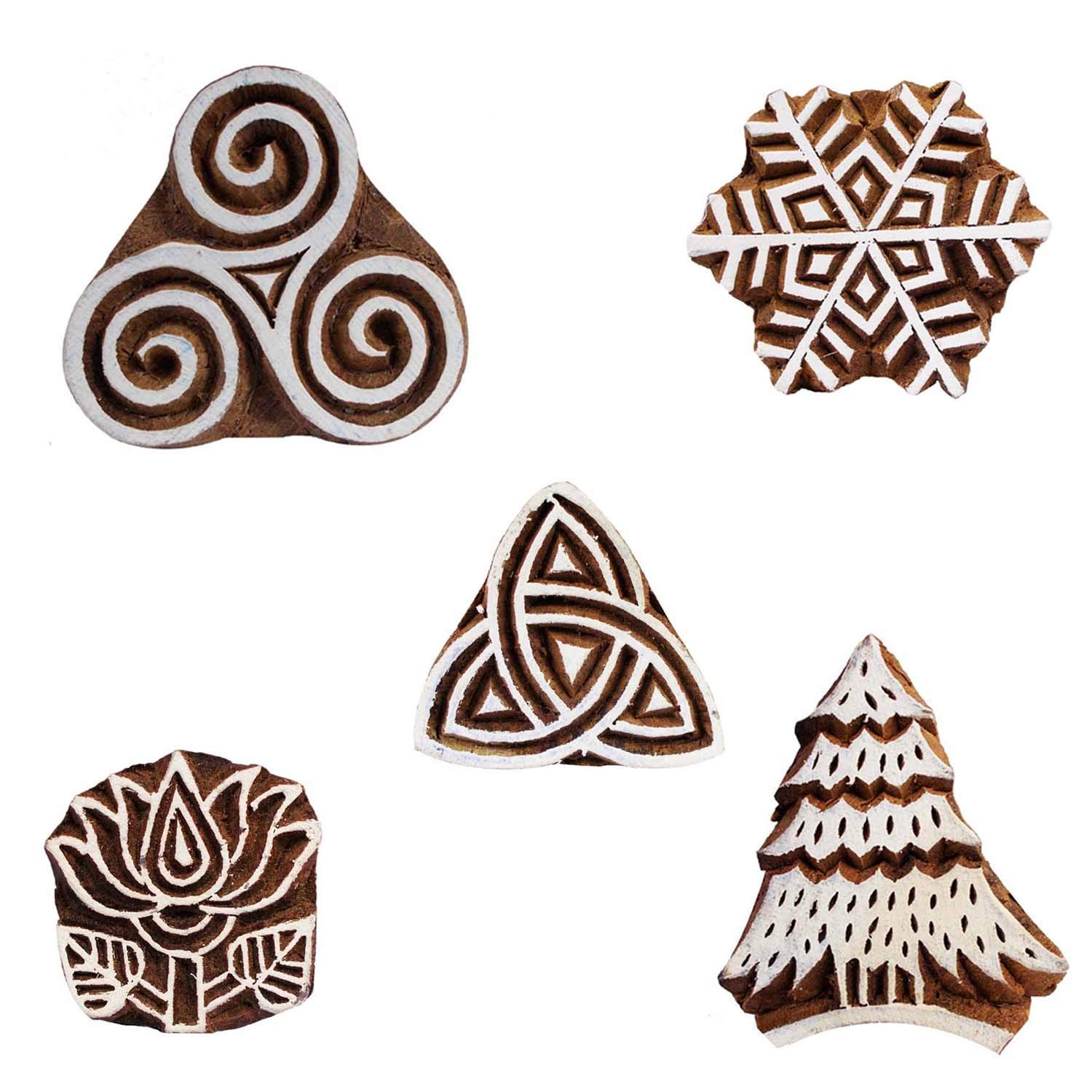 Textile Printing Block Wooden Floral, Christmas Tree and Geometric Triangle Clay Potter Craft Scrapbook Stamps Pack of 5 by CraftyArt