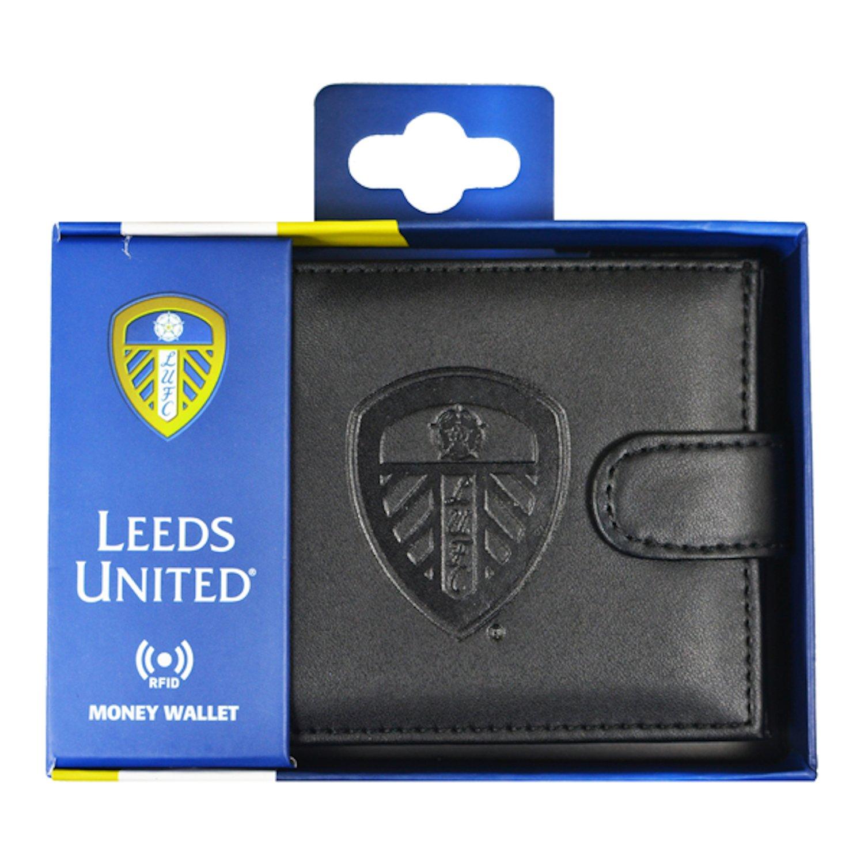 Leeds United AFC Official Football Gift Embossed Crest Wallet Black
