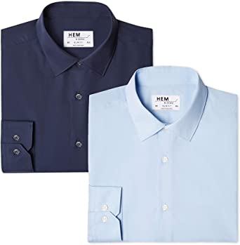 Marca Amazon - find. Camisa Lisa Slim Fit Hombre, Pack de 2: Amazon.es: Ropa y accesorios
