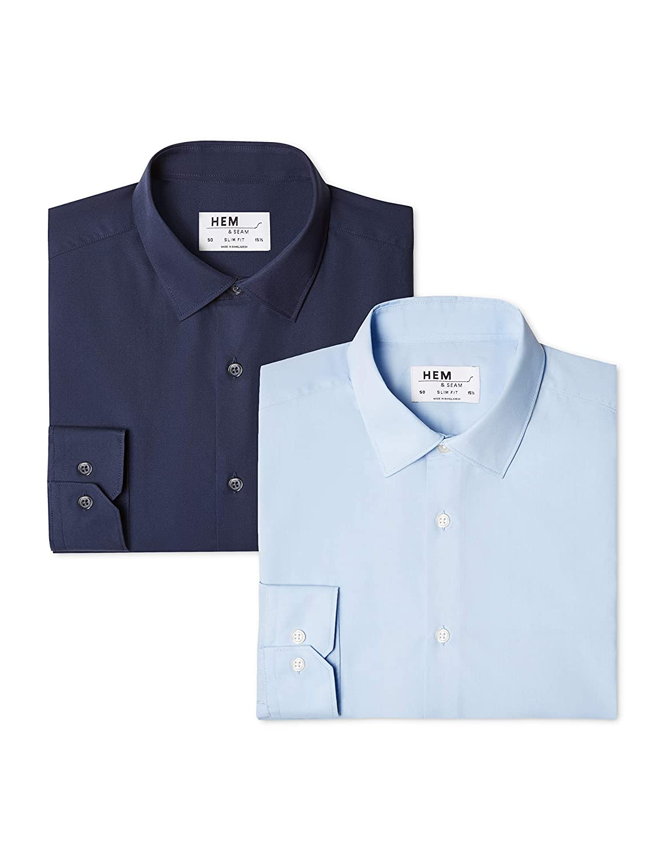 Hem /& Seam 2 Pack Solid Slim Fit Mens Business Shirt