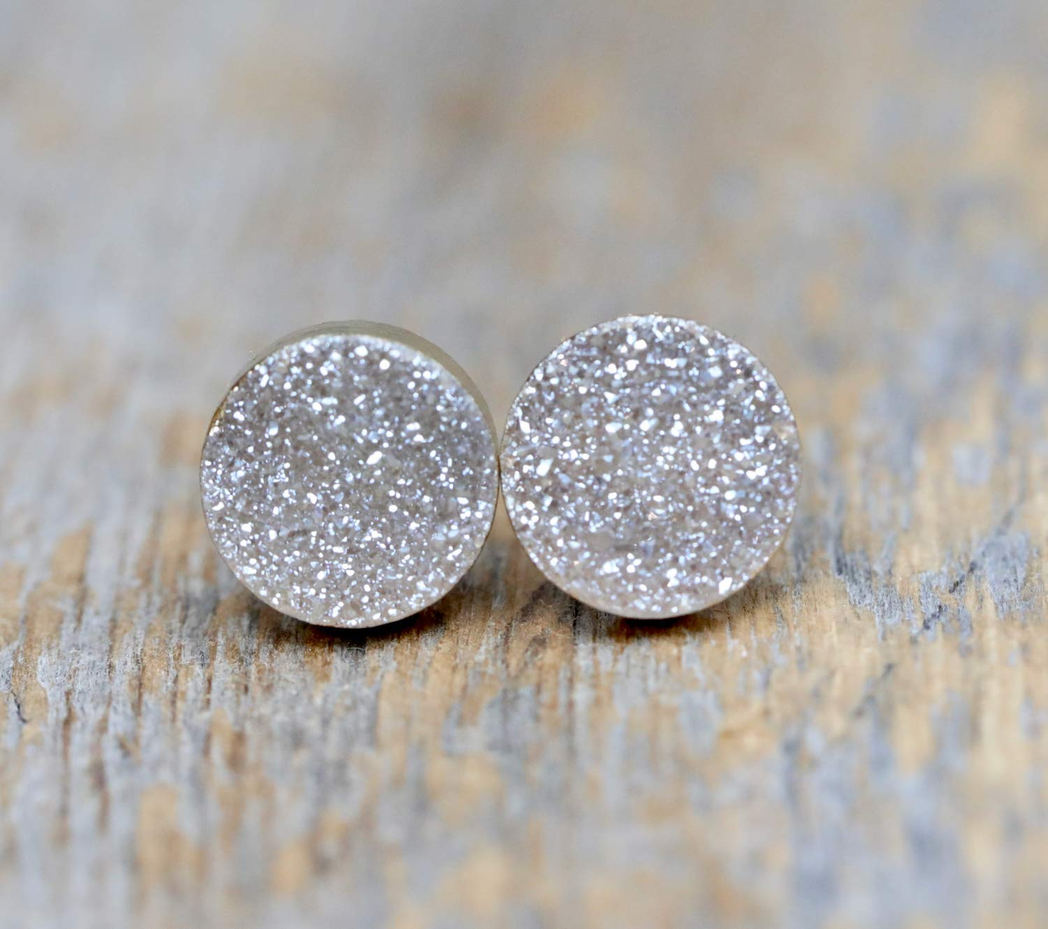 694018 Green Druzy Earring Studs Dipped in Sterling Silver-10mm Round Sparkling Gemstone Earring Studs-Gifts for Her-Wholesale Findings SKU
