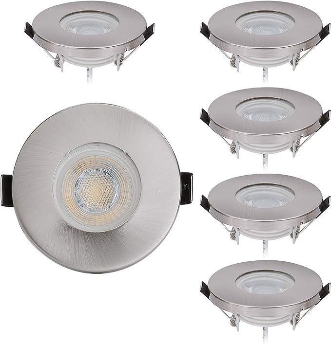 Lot de 6 spots LED encastrables protection IP44 de chrome avec module LED Spot 230V/5W - Blanc chaud 3000K - pour pièces humides/salle de bains,55mm trous [Classe énergétique A+]