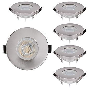 6er Set IP44 LED Einbaustrahler Set 230V -5W - Neutralweiß 4000K -  60°Abstrahlwinkel - Feuchtraum/Badezimmer - Dimmbar - Einbauleuchte ...