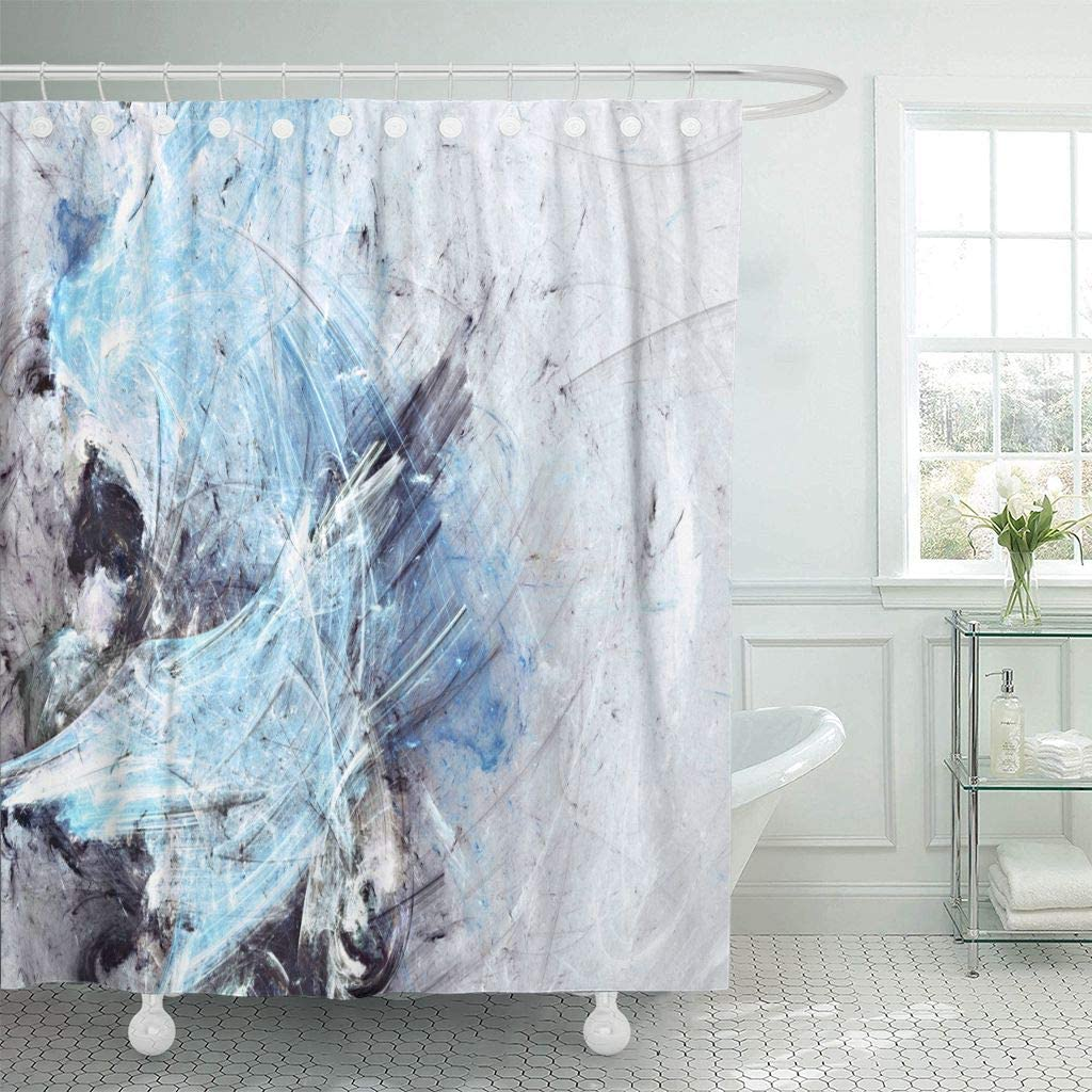 Amazon Com Emvency Fabric Shower Curtain With Hooks Abstract Beautiful Blue Grey And White Icy Color Dynamic Painting Modern Futuristic 60 X72 Decorative Bathroom Home Kitchen