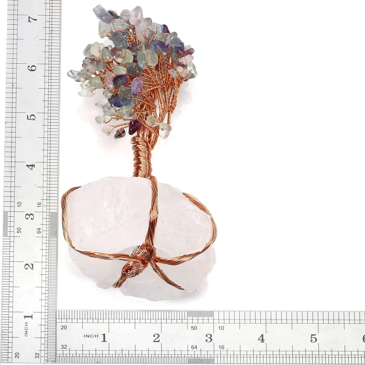 June/&Ann Feng Shui Ornament Copper Wrapped on Amethyst Quartz Cluster Base Bonsai Money Tree Figurine Decoration for Wealth and Luck Purple Crystal Money Tree