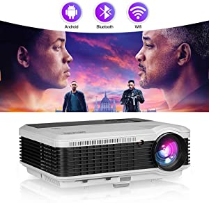 """Smart Home Projector with Bluetooth WiFi,4800 Lumen LED Movie Proyector Compatible with HDMI VGA USB AV DVD Player Fire TV Stick Laptop,Support 150"""" Display/Screen Mirroring/Zoom"""