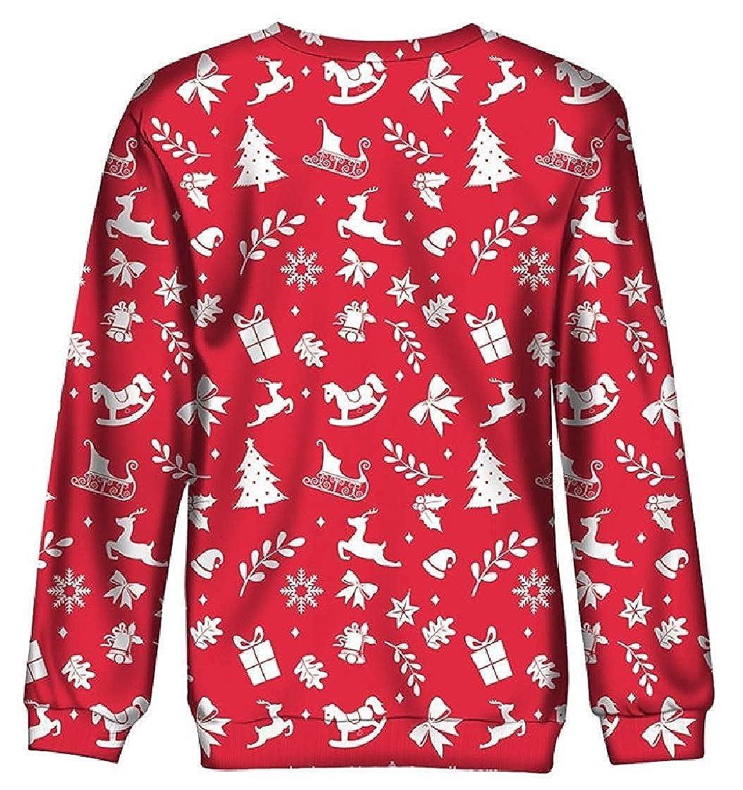 Hadudu Womens Velvet Christmas Long-Sleeve Cartoon Crew Neck Lounge Sweatshirts
