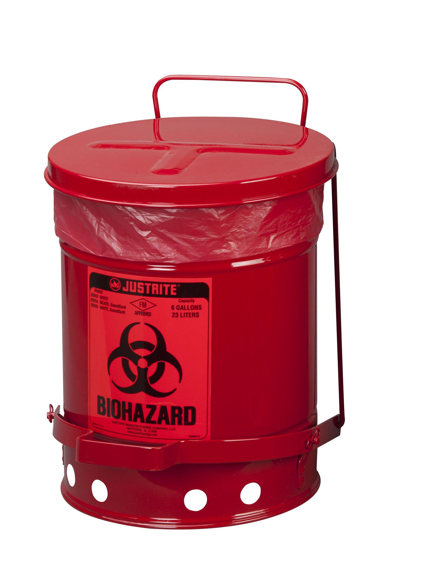 Justrite 05910R Steel Biohazard Waste Can, 6 Gallon Capacity, Red
