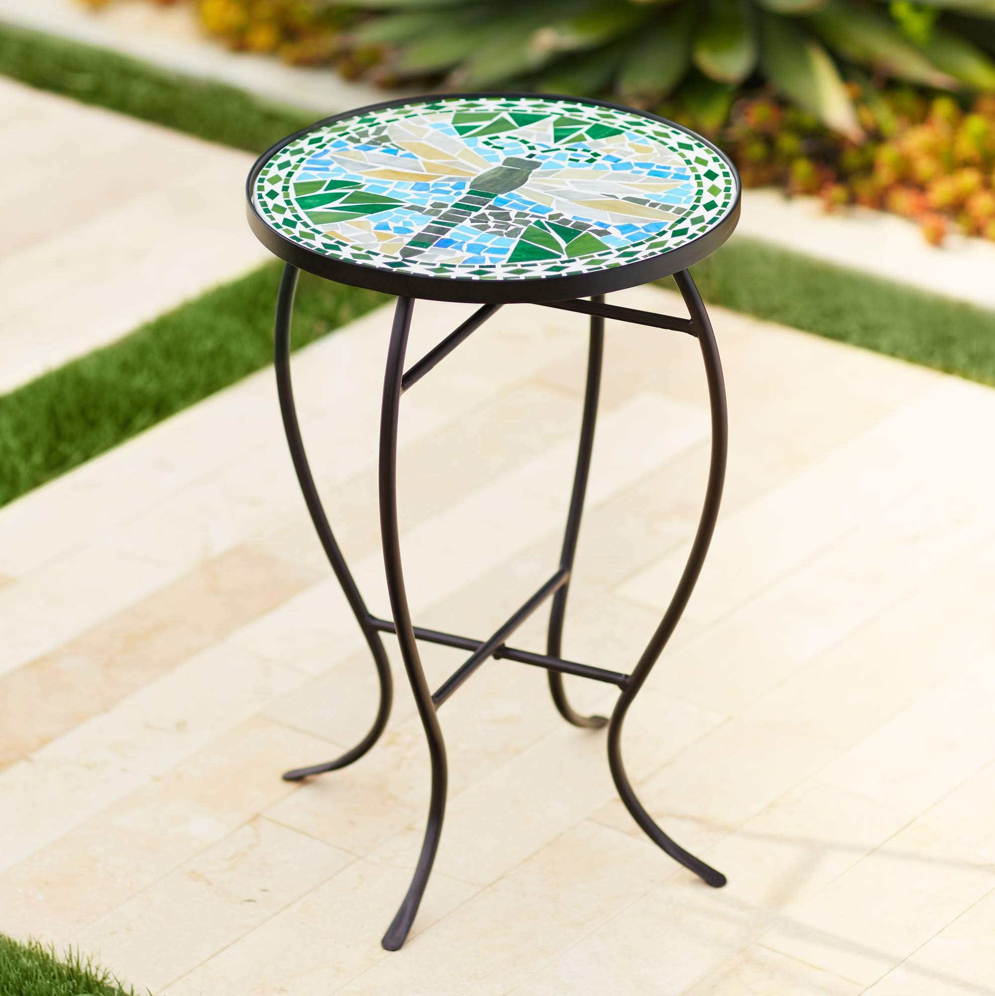 Teal Island Designs Dragonfly Mosaic Black Iron Outdoor Accent Table by Teal Island Designs