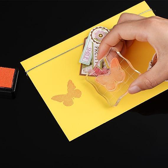 Bienvenido a casa alegre 50/75/100 mm sello bloques con rejilla y mango, juego de bloques para estampado (acrílico transparente herramientas esenciales de ...