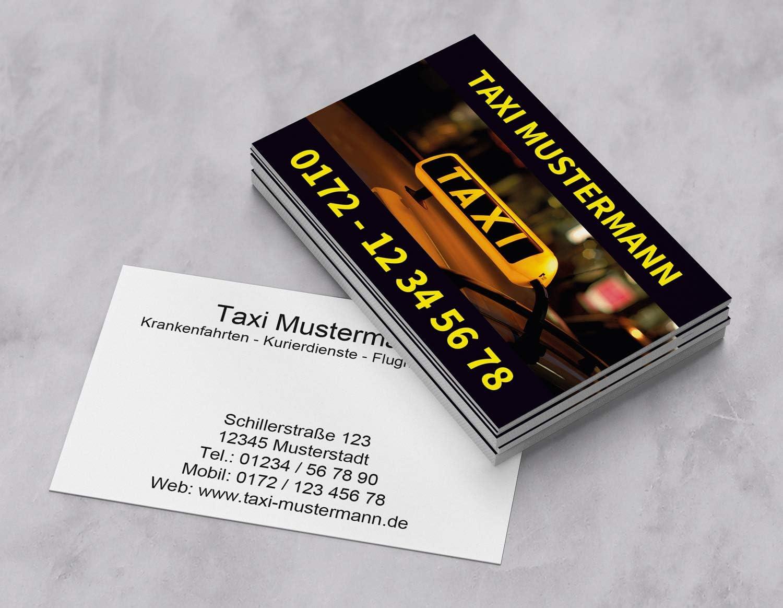 1000 Visitenkarten f/ür Taxi Kurier Transport 350g Bilderdruck matt