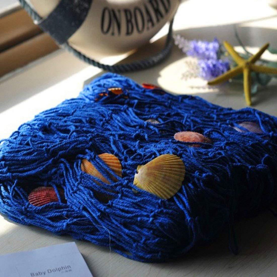 VEIOU Fish Net Decor Nautical Mediterranean Style Home Wall Decorative With Shells (Blue)