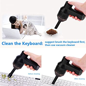 Fosa - Aspiradora portátil mini con mango recargable USB para escritorio, herramienta de recogida de polvo con ventosa para limpiar el polvo, migas de pan, rasguños de papel, gomas de borrar: Amazon.es: