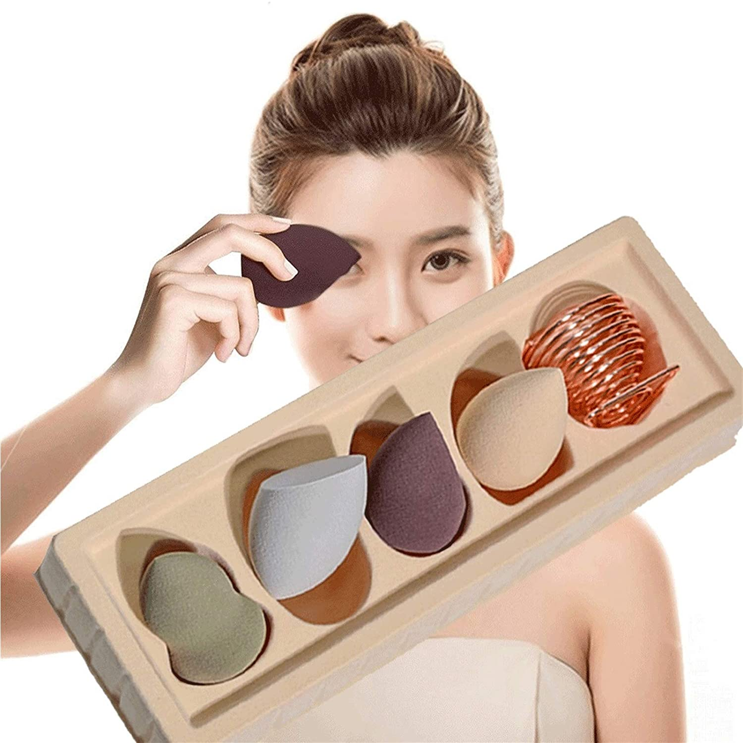 Makeup Sponge Set of 4 Pcs with Storage, Professional Soft Makeup Blender Latex Free Dry & Wet Use For Liquid Powder BB Cream and Sunscreen