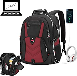 Laptop Backpack 17 Inch Business Travel Backpacks for Men Women Extra Large Waterproof TSA Anti Theft College School Bookbags with USB Charging Port 17.3 Gaming Computer Backpack 45L, Red