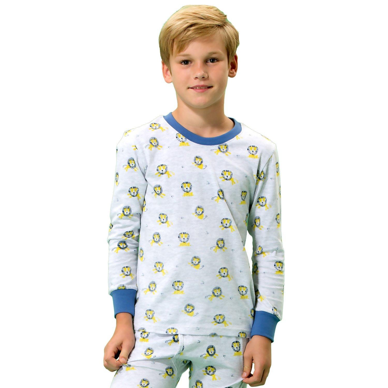 Leo&Lily Boys' Kids' Cotton Interlock Printed Pajamas Sets White Melange (W Melange, 14)