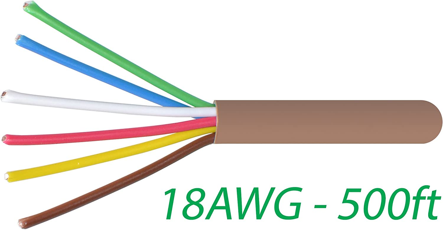 Logico 18-6 Thermostat Wire 18-Gauge Copper CMR Heating AC HVAC Cable 500FT  - - Amazon.com | Hvac Thermostat Wiring Gauge |  | Amazon.com