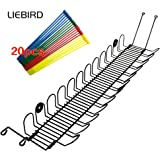 LIEBIRD Cable Management Under Desk Cable and Wire Management Horizontal 2-Way Cable Corral, Black