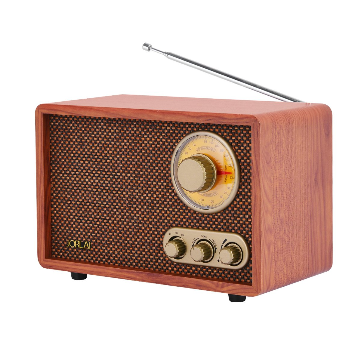 Radio de madera estilo retro vintage. AM/FM, Bluetooth