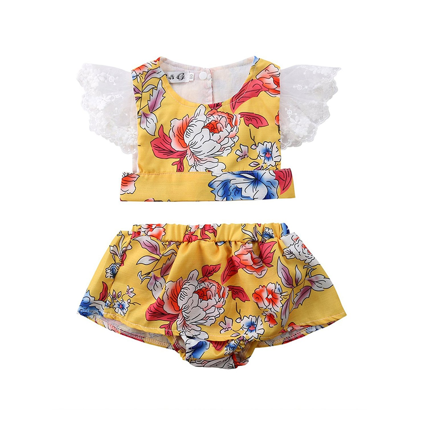 GSHOOTS Baby Girls' 2Pcs Clothes Set Floral Ruffle Top + Bowknot Shorts 40487