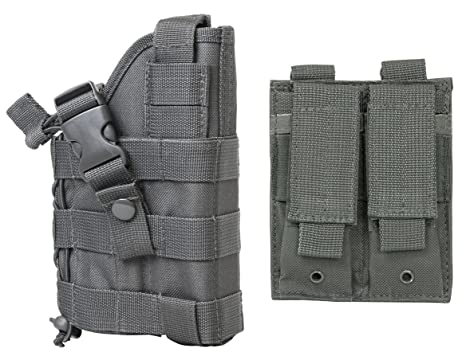 M1SURPLUS Wolf Grey MOLLE Compatible Holster with Free MOLLE Compatible 2  Pocket Magazine Pouch/The Holster Fits Fits Smith & Wesson M&P M2 0 CZ-P10