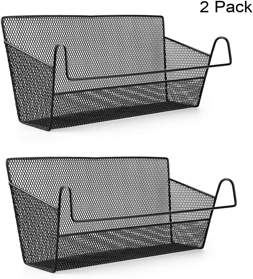 BTSKY 2 Pack Bedside Storage Baskets, Dorm Room Bed Storage Basket Metal Mesh Desktop Corner Shelves Hanging Organizer Rack Shelf Bedside for Book Phones Drinks Tissues Office Home with Hook Black