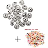 ILOVEDIY Antique Silver Spacer European Wave Beads for Jewelry Making, 6mm, 100pcs