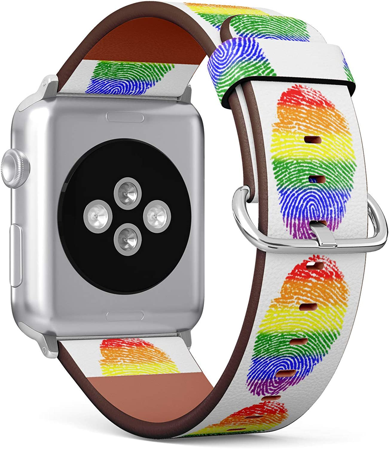 (LGBT Rainbow Color Fingerprint) Patterned Leather Wristband Strap for Apple Watch Series 4/3/2/1 gen,Replacement for iWatch 38mm / 40mm Bands