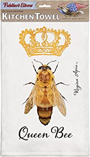 product image for Fiddler's Elbow Queen Bee 100% Cotton Eco-Friendly Kitchen Dish Towel, Kitchen Towel with Hanging Loop, Artist Regina Apis, Bee Lover Gift