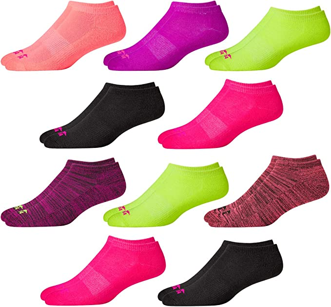 Avia Girls/' Socks 10 Pack Athletic Low Cut No Show Cushioned Liners