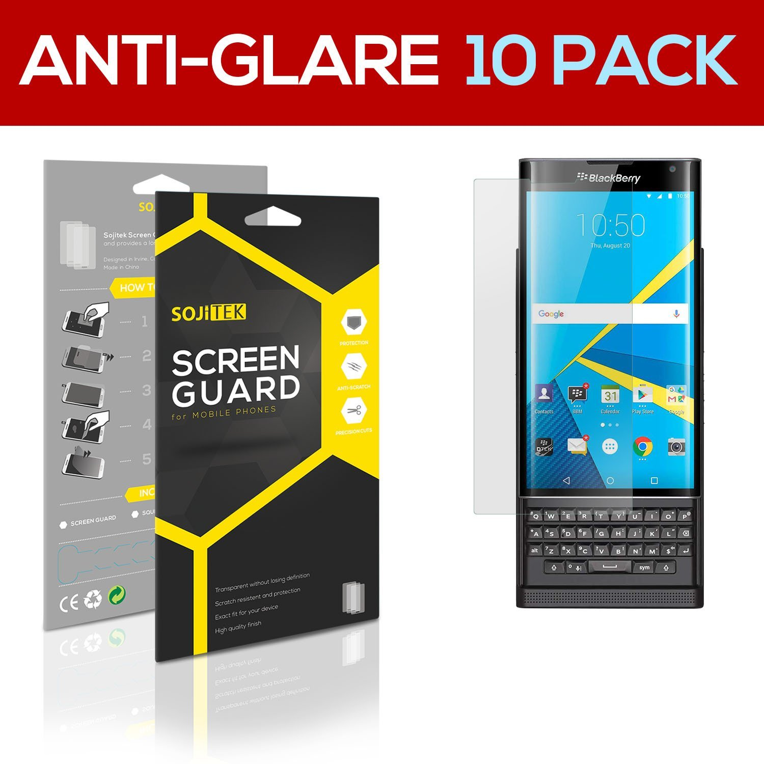 SOJITEK BlackBerry Android Priv Premium Anti-Glare Anti-fingerprint Matte Screen Protector [10 Pack] Lifetime Replacements Warranty + Retail Packaging