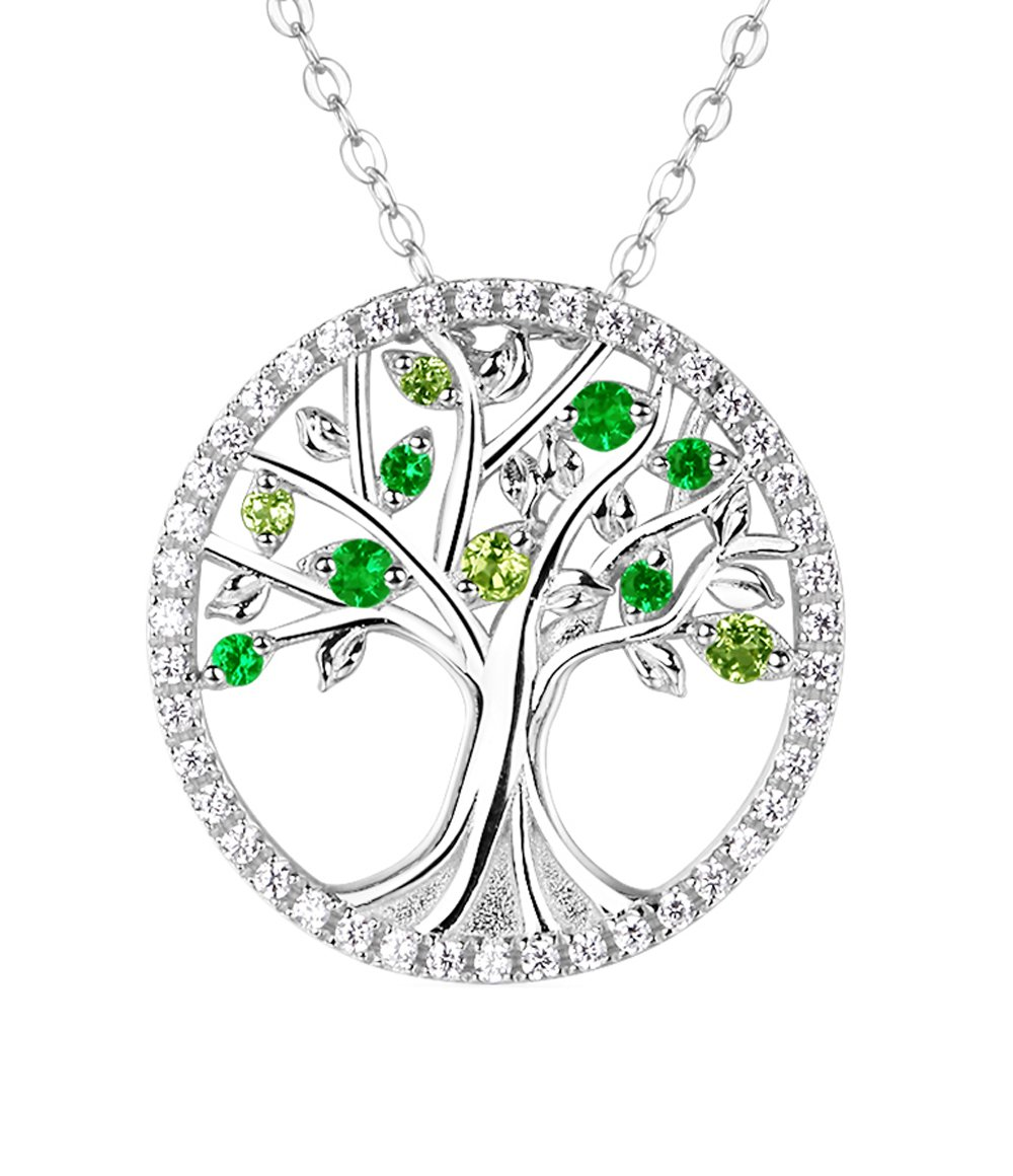The Tree of Life Necklace Gifts for Her August Birthstone Natural Green Peridot Gemstone and Created Emerald Halo Pendant Birthday Anniversary Gift for Family Women and Lady Sterling Silver