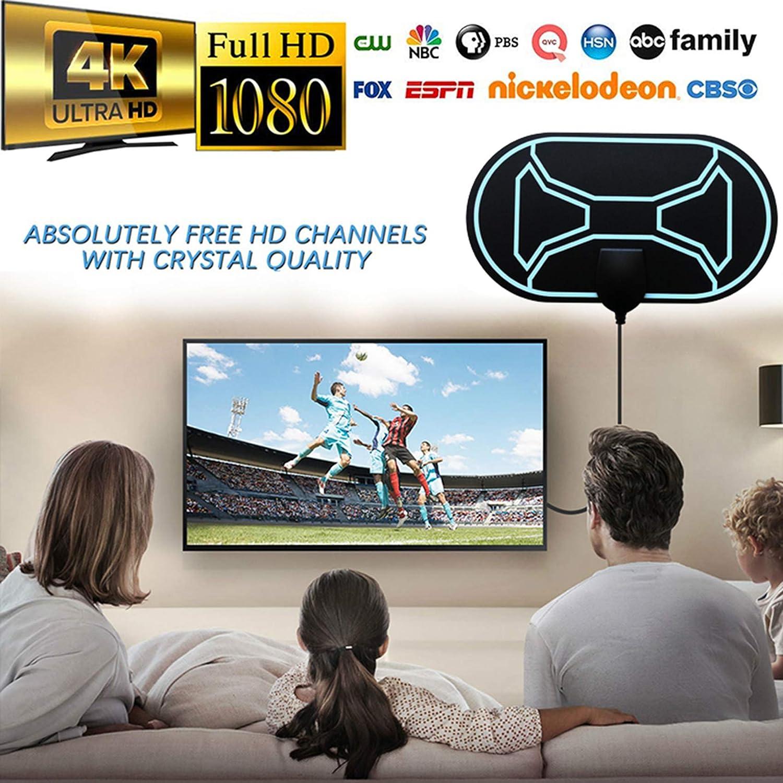 Rpanle Antena TV Interior, Antena de HDTV Digital 120 Millas con Amplificador de Señal Inteligente para Canales de TV Gratuitos Soporte 4K 1080 ...