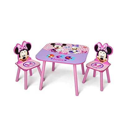 Delta Children Kids Table and Chair Set (2 Chairs Included) - Ideal for Arts & Crafts, Snack Time, Homeschooling, Homework & More, Disney Minnie Mouse: Kitchen & Dining