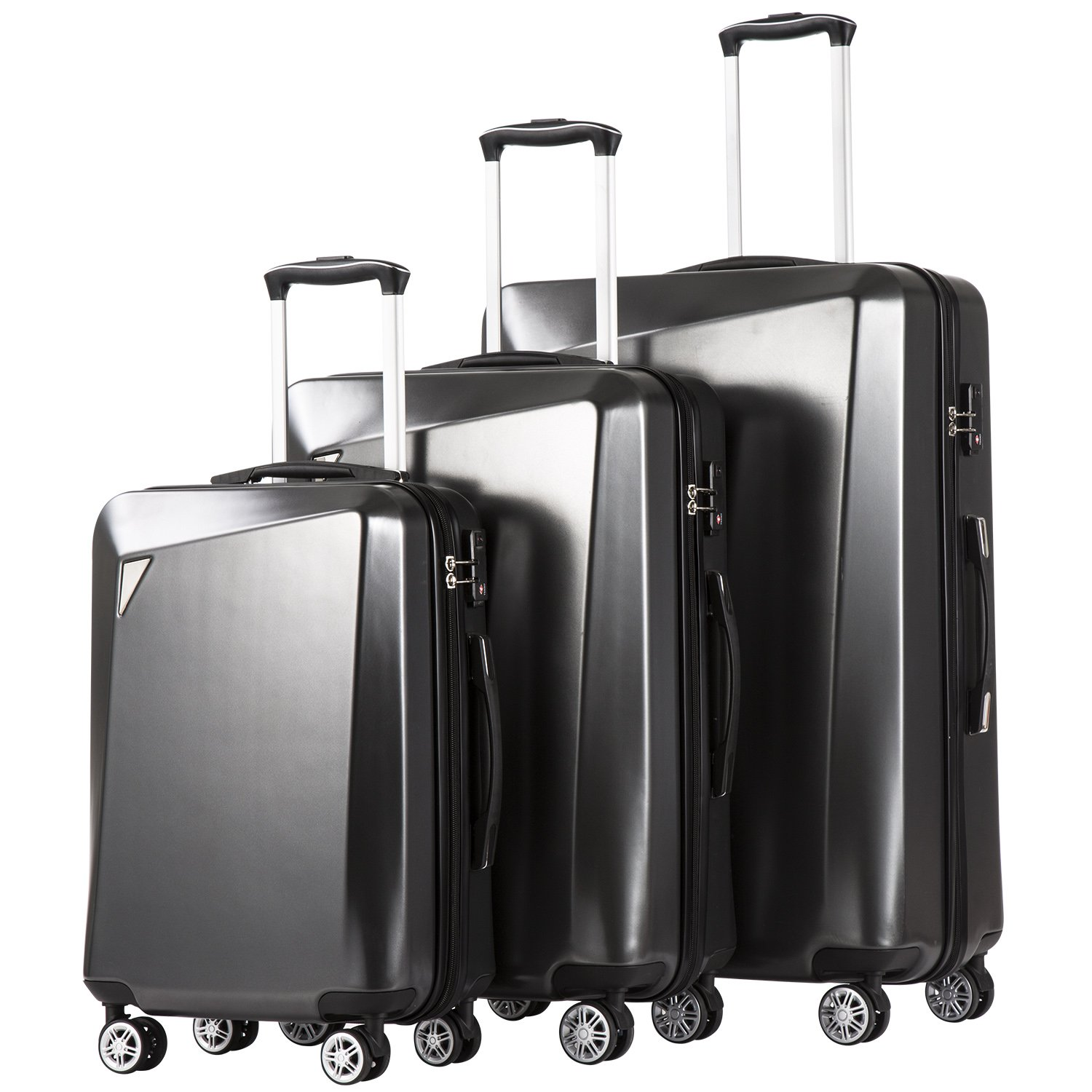 Coolife Luggage 3 Piece Sets PC+ABS Spinner Suitcase 20 inch 24 inch 28 inch (dark gray2) by COOLIFE
