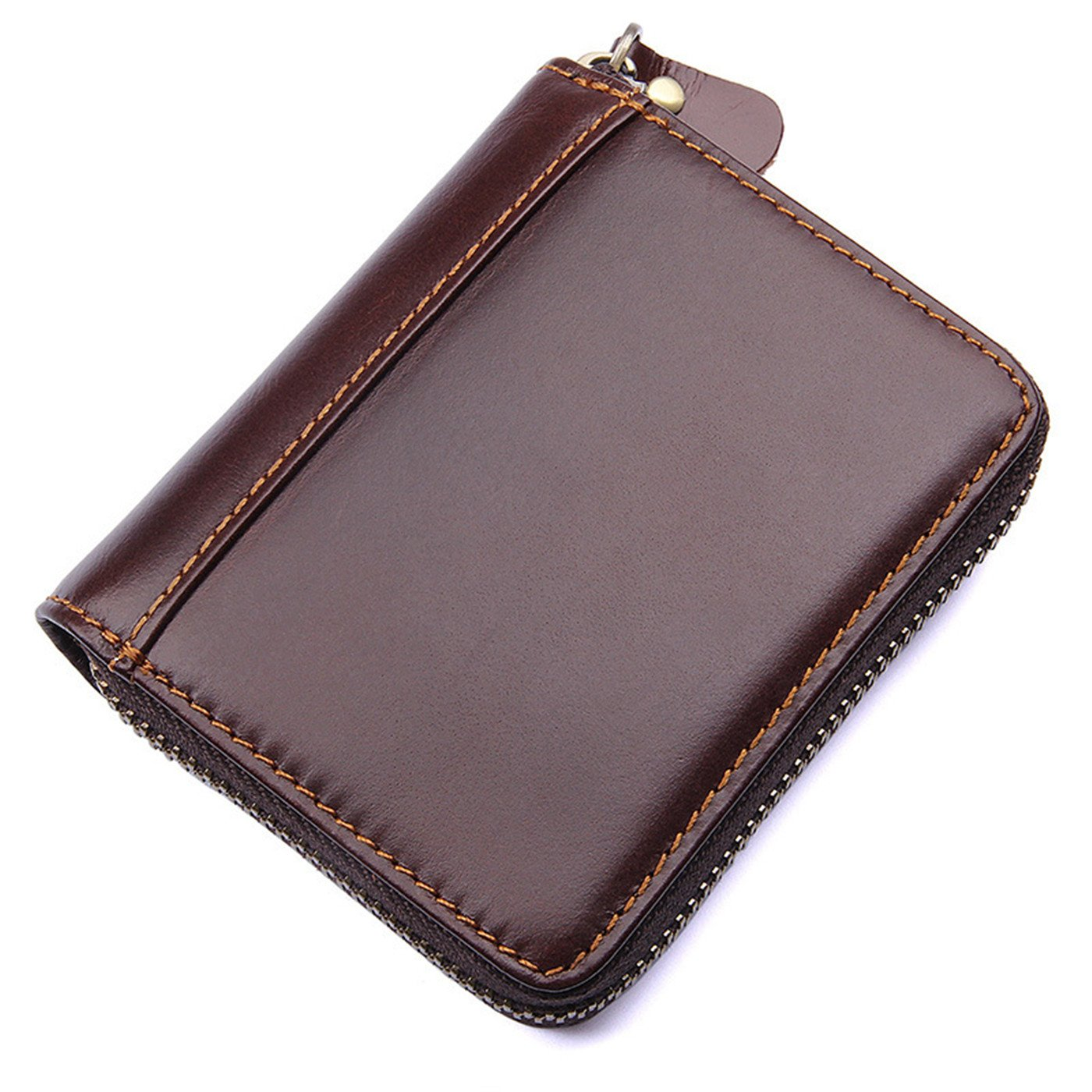 ULUIKY Occident Style Men and Women's Genuine Leather RFID Secure Spacious Cute Zipper Card Wallet Small Purse Leather Credit Card Security Travel Wallet (1-0)